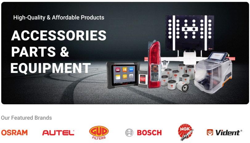 Accessories parts & equipment banner