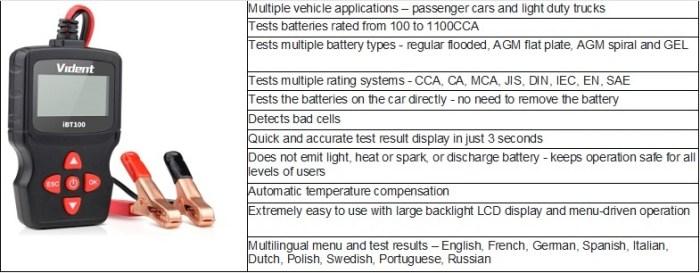 Vident iBT100 12V Battery Tester / Analyzer